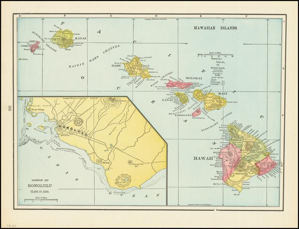18-Hawaii and Hawaii Map By George F. Cram