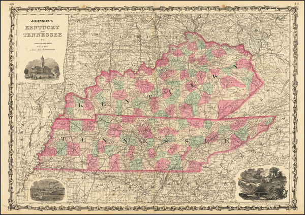 99-Kentucky and Tennessee Map By Alvin Jewett Johnson  &  Benjamin P Ward