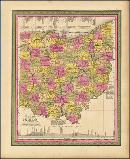 52-Ohio Map By Samuel Augustus Mitchell
