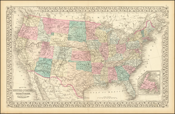91-United States Map By Samuel Augustus Mitchell Jr.