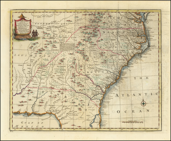 54-Florida, Southeast, Virginia, Georgia, North Carolina and South Carolina Map By Emanuel Bowen