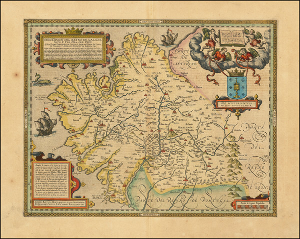 42-Spain Map By Abraham Ortelius