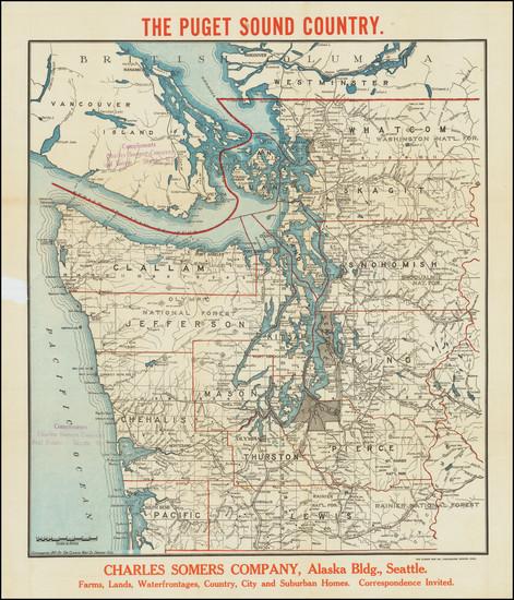 54-Washington Map By The Clason Map Company