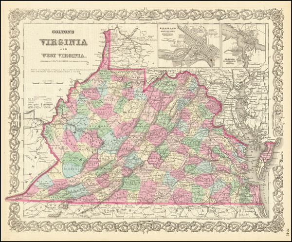 90-West Virginia and Virginia Map By Joseph Hutchins Colton