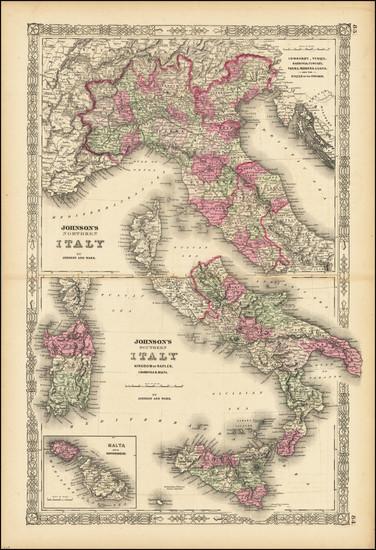 86-Italy, Northern Italy, Southern Italy and Malta Map By Alvin Jewett Johnson  &  Ross C. Bro