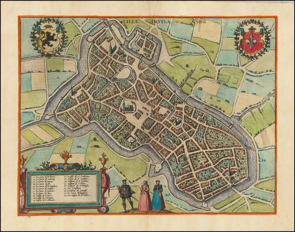 41-Nord et Nord-Est Map By Georg Braun  &  Frans Hogenberg