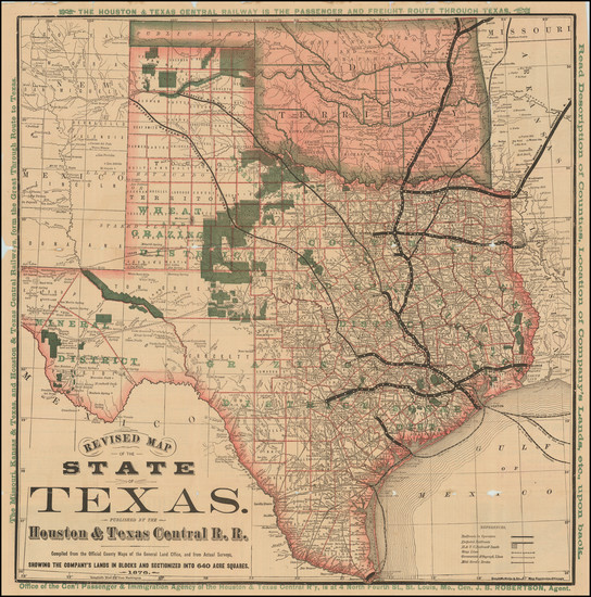 37-Texas and Oklahoma & Indian Territory Map By Houston & Texas Central R.R.