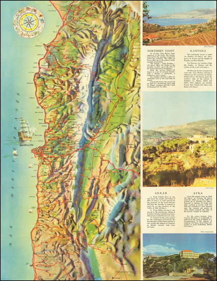 7-Middle East, Holy Land and Pictorial Maps Map By Tourist Bureau of the Lebanese Goverment