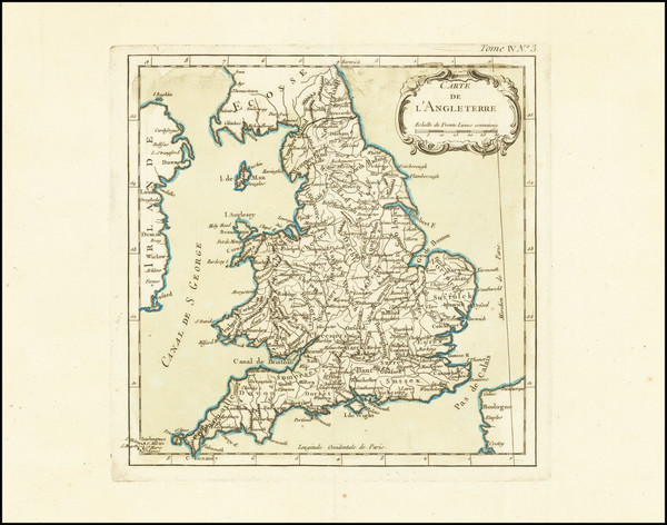 38-England and Wales Map By Jacques Nicolas Bellin
