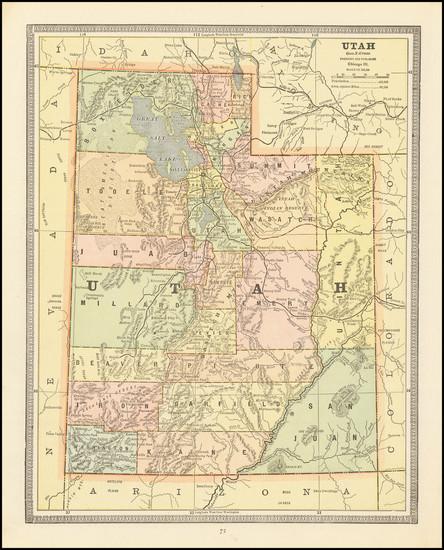 2-Utah and Utah Map By George F. Cram