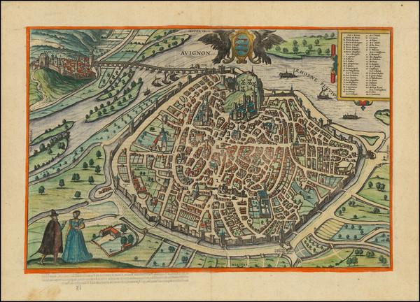 35-Sud et Alpes Française Map By Georg Braun  &  Frans Hogenberg