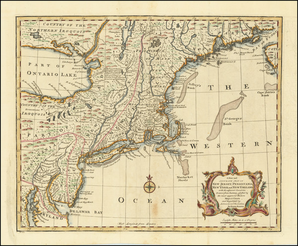 8-New England, New York State and Mid-Atlantic Map By Emanuel Bowen