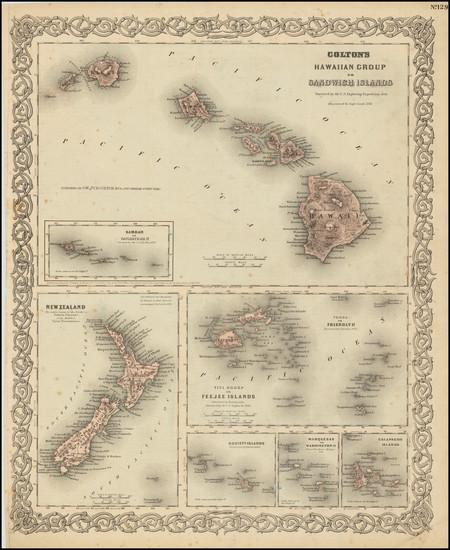 59-Hawaii and Hawaii Map By Joseph Hutchins Colton