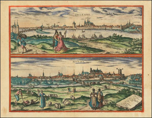 69-Centre et Pays de la Loire Map By Georg Braun  &  Frans Hogenberg