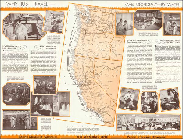 84-California, Oregon and Washington Map By Pacific Steamship Company
