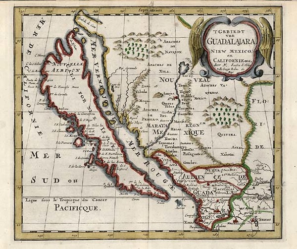 58-Southwest, Mexico, Baja California and California Map By Nicolas Sanson