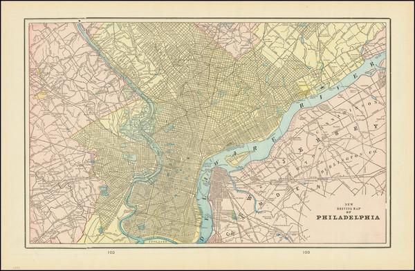 60-Philadelphia Map By George F. Cram