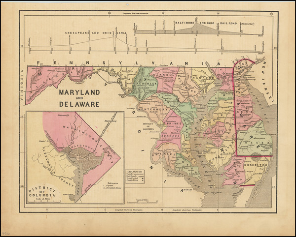 17-Washington, D.C., Maryland and Delaware Map By Sidney Morse