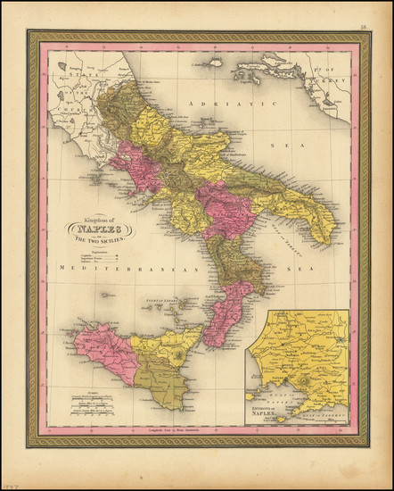 46-Southern Italy Map By Samuel Augustus Mitchell