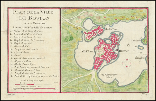 38-Massachusetts and Boston Map By Jacques Nicolas Bellin