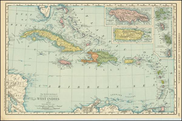36-Caribbean Map By Rand McNally & Company