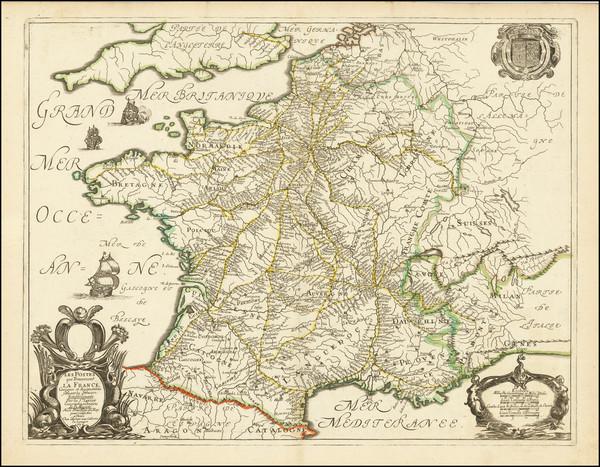 93-France Map By Nicolas Sanson