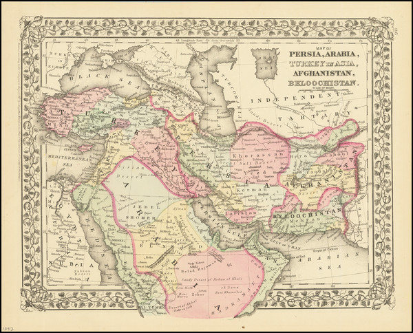 62-Central Asia & Caucasus, Persia & Iraq and Turkey & Asia Minor Map By Samuel August