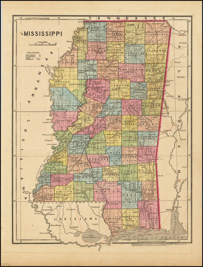 47-Mississippi Map By Sidney Morse  &  Samuel Breese