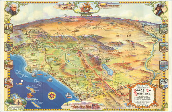 30-Pictorial Maps, California, Los Angeles and San Diego Map By Claude Putnam / Karl F. Brown