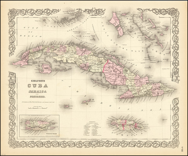 14-Cuba, Jamaica, Puerto Rico and Bahamas Map By G.W.  & C.B. Colton