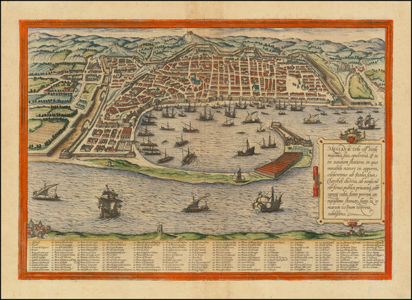 24-Other Italian Cities and Sicily Map By Georg Braun  &  Frans Hogenberg