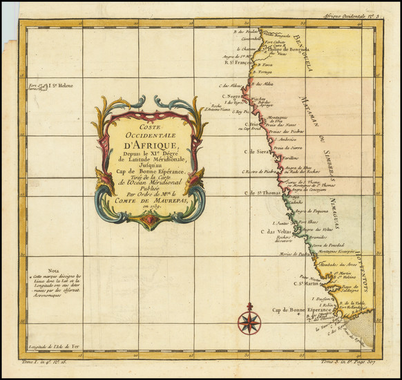 19-South Africa Map By Jacques Nicolas Bellin