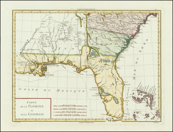 58-Florida, Southeast and Georgia Map By Pierre Antoine Tardieu