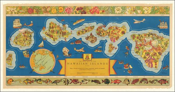 80-Hawaii, Hawaii and Pictorial Maps Map By Hawaiian Pineapple Company