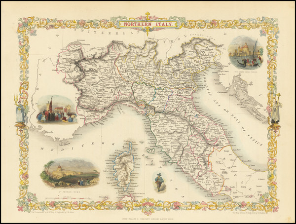 35-Italy, Northern Italy and Balearic Islands Map By John Tallis