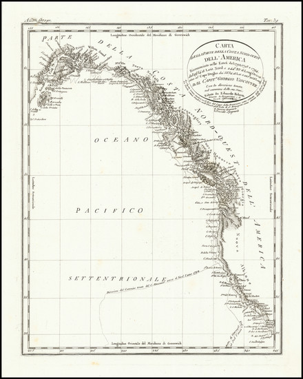 69-Alaska, California and British Columbia Map By George Vancouver