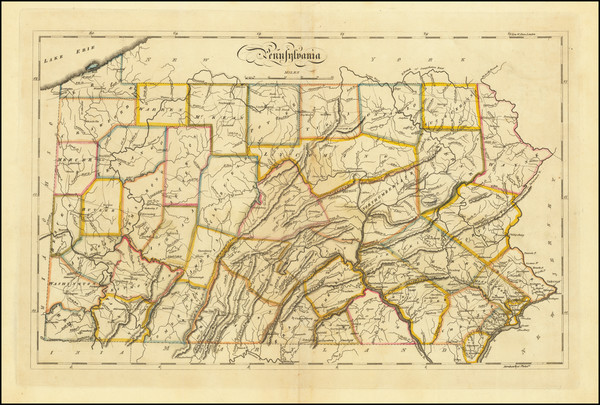12-Pennsylvania Map By Mathew Carey