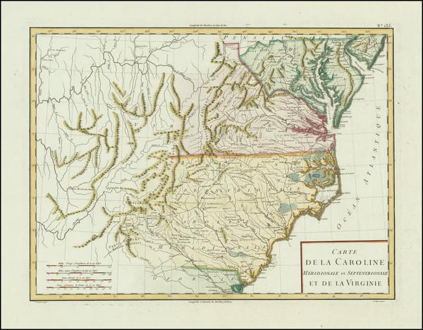 1-South, Southeast, Virginia, North Carolina and South Carolina Map By Pierre Antoine Tardieu