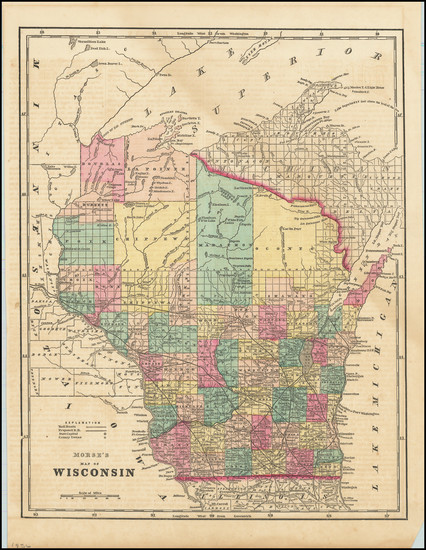 62-Wisconsin Map By Sidney Morse