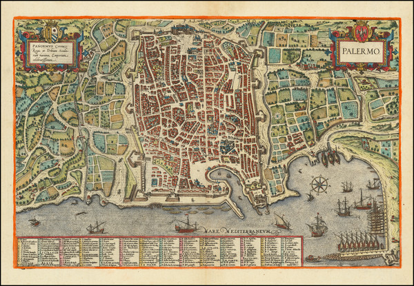 70-Southern Italy and Other Italian Cities Map By Georg Braun  &  Frans Hogenberg