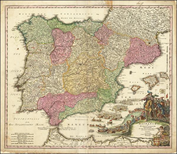 53-Spain and Portugal Map By Johann Baptist Homann