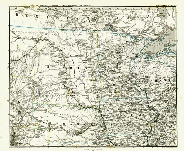 37-Midwest, Plains and Rocky Mountains Map By Adolf Stieler
