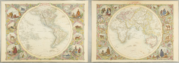 60-World, Eastern Hemisphere and Western Hemisphere Map By John Tallis