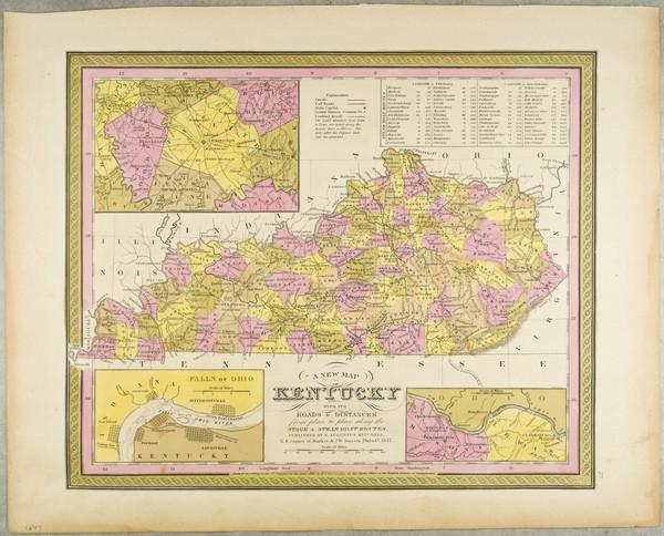 44-Kentucky Map By Samuel Augustus Mitchell