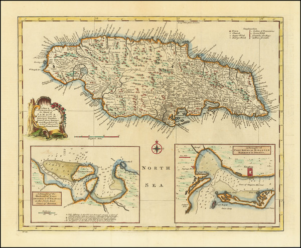53-Jamaica Map By Emanuel Bowen