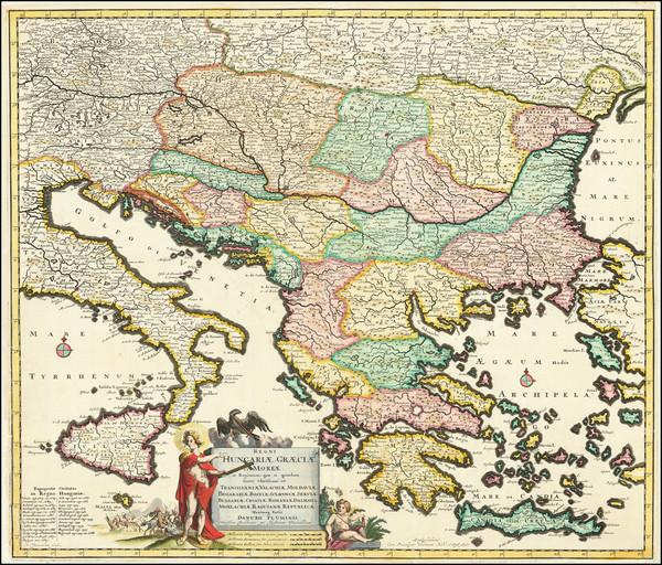 83-Hungary, Balkans, Turkey and Greece Map By Justus Danckerts