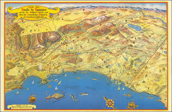 47-Pictorial Maps, California and Los Angeles Map By Roads To Romance Inc.