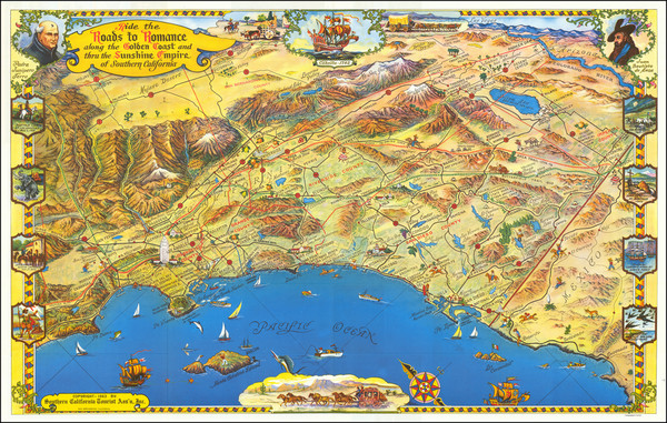 41-Pictorial Maps, Los Angeles and San Diego Map By Roads To Romance Inc.