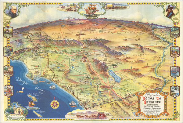 67-Pictorial Maps, California, Los Angeles and San Diego Map By Claude Putnam / Karl F. Brown