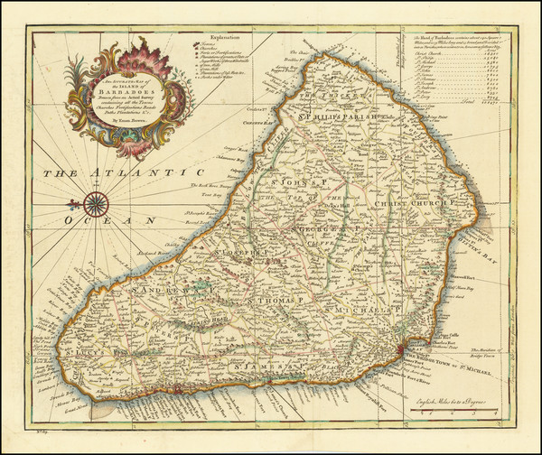 74-Caribbean Map By Emanuel Bowen